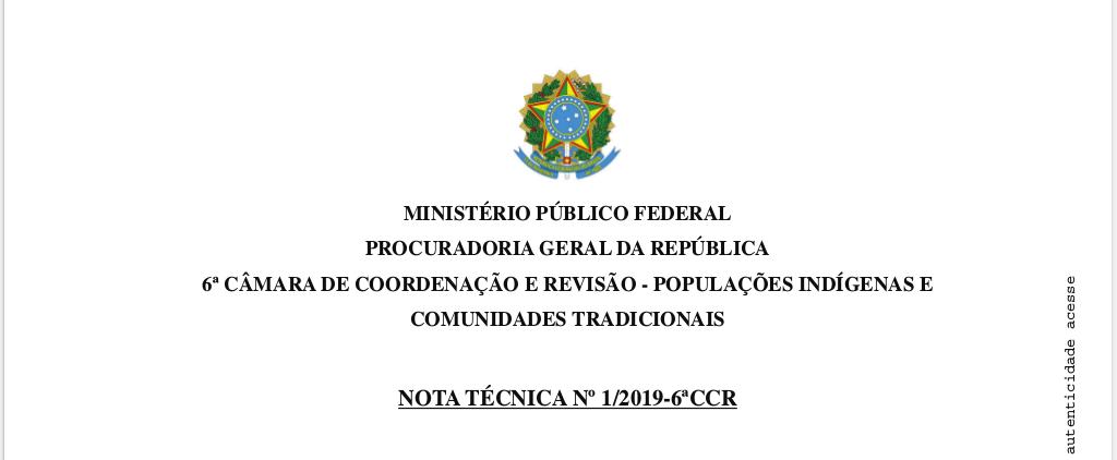 A 6ª Câmara do MPF defende inconstitucionalidade da Medida Provisória 870/2019